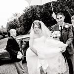 bride arriving at haughley park barn